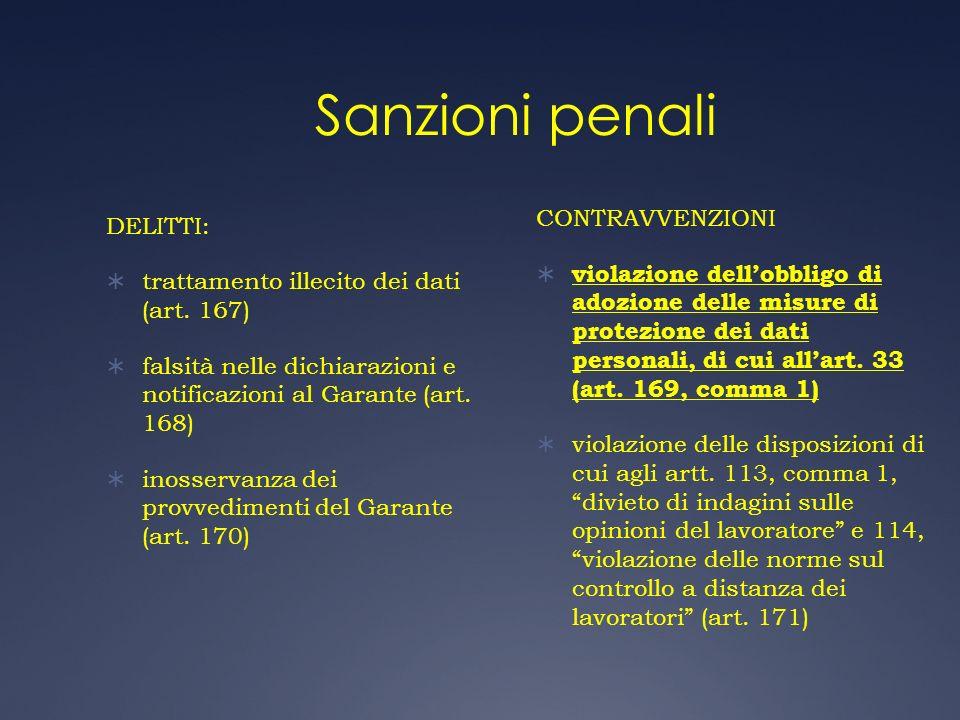 Sanzioni penali CONTRAVVENZIONI DELITTI: