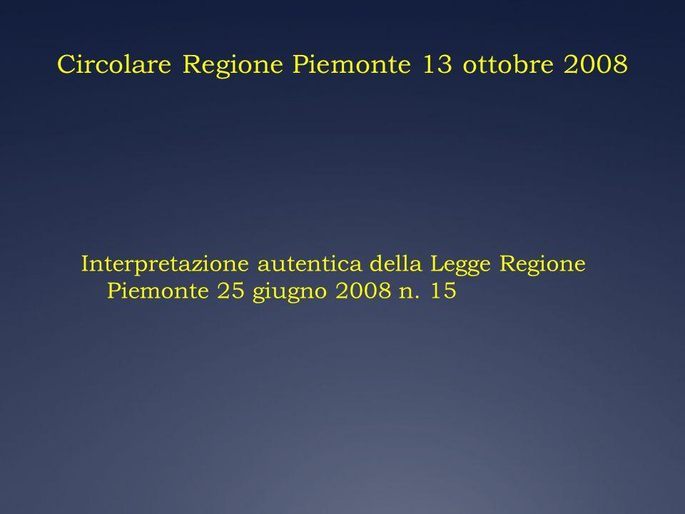 Circolare Regione Piemonte 13 ottobre 2008