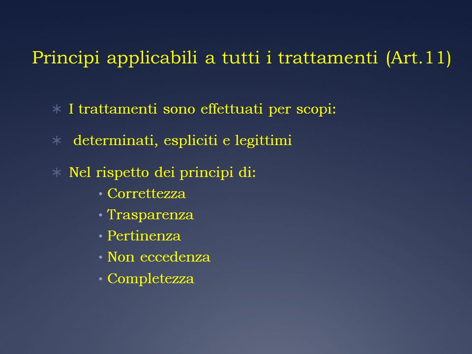 Principi applicabili a tutti i trattamenti (Art.11)