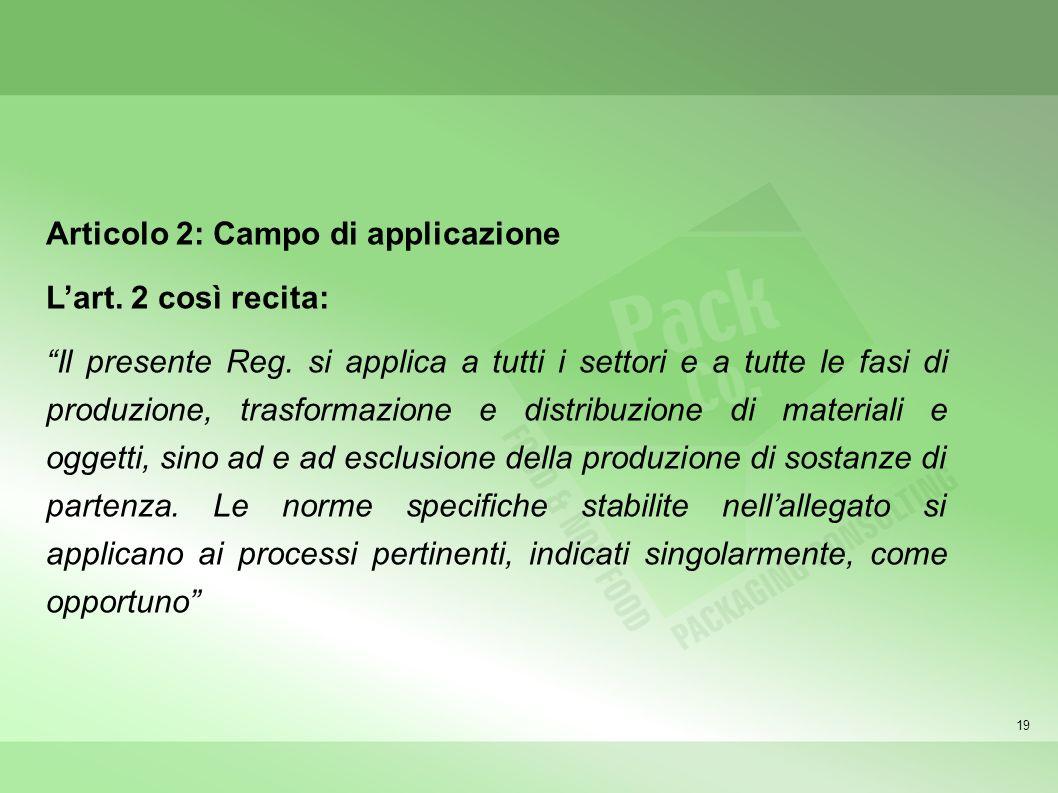 Articolo 2: Campo di applicazione L'art. 2 così recita: