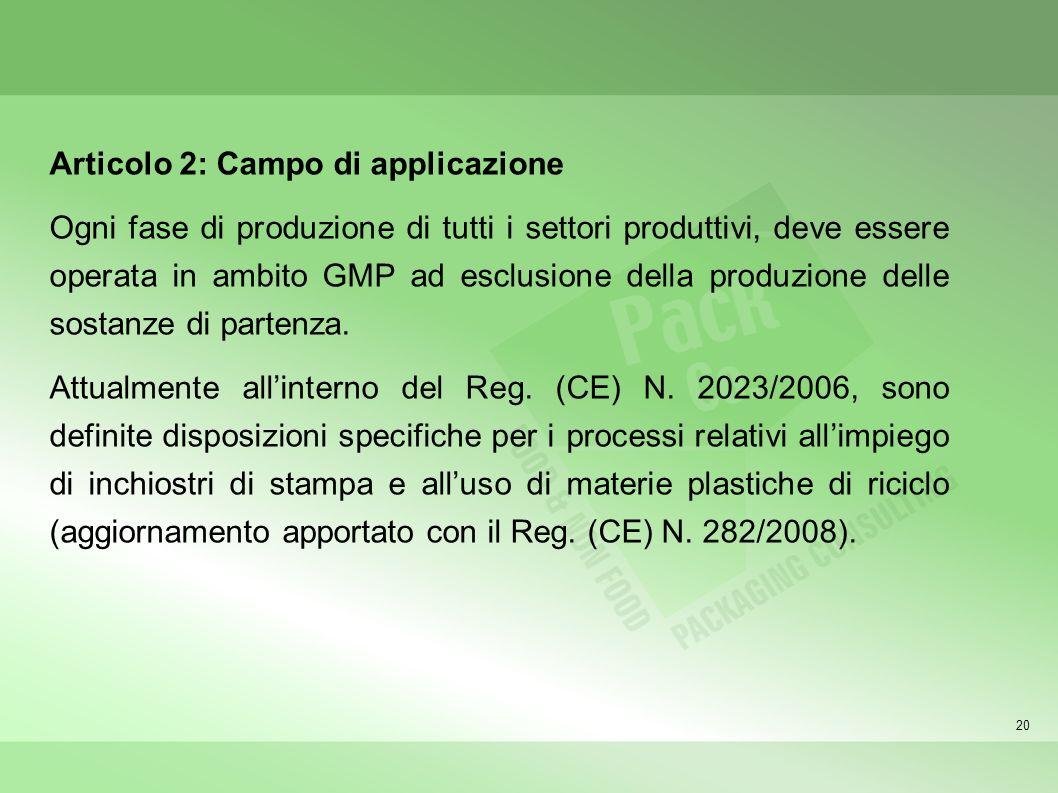 Articolo 2: Campo di applicazione