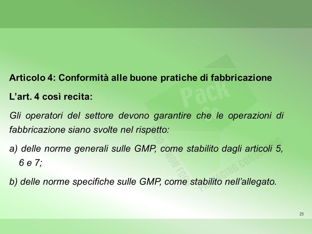 Articolo 4: Conformità alle buone pratiche di fabbricazione