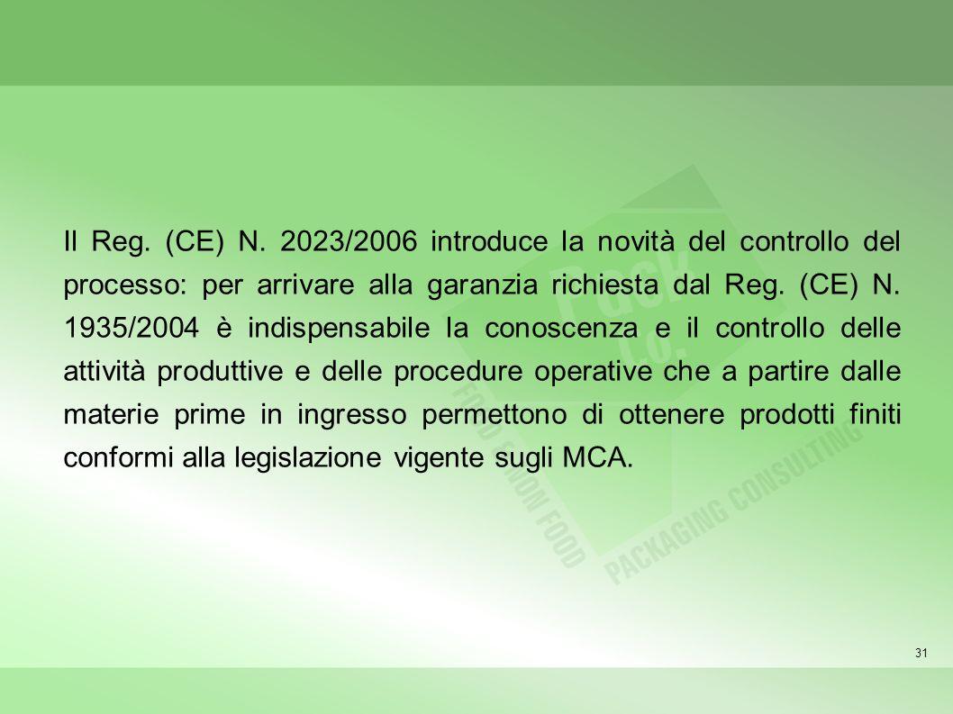 Il Reg. (CE) N. 2023/2006 introduce la novità del controllo del processo: per arrivare alla garanzia richiesta dal Reg. (CE) N. 1935/2004 è indispensabile la conoscenza e il controllo delle attività produttive e delle procedure operative che a partire dalle materie prime in ingresso permettono di ottenere prodotti finiti conformi alla legislazione vigente sugli MCA.