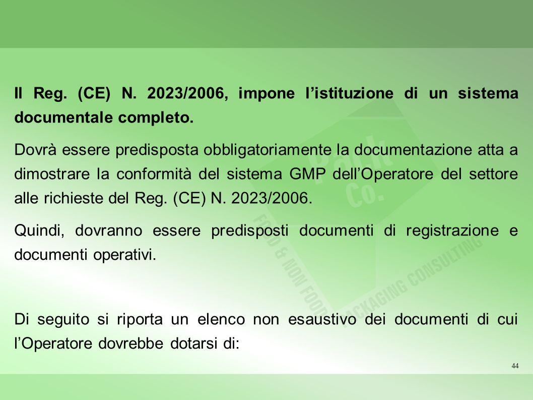 Il Reg. (CE) N. 2023/2006, impone l'istituzione di un sistema documentale completo.