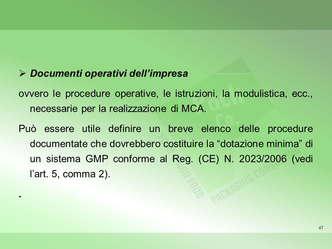 Documenti operativi dell'impresa