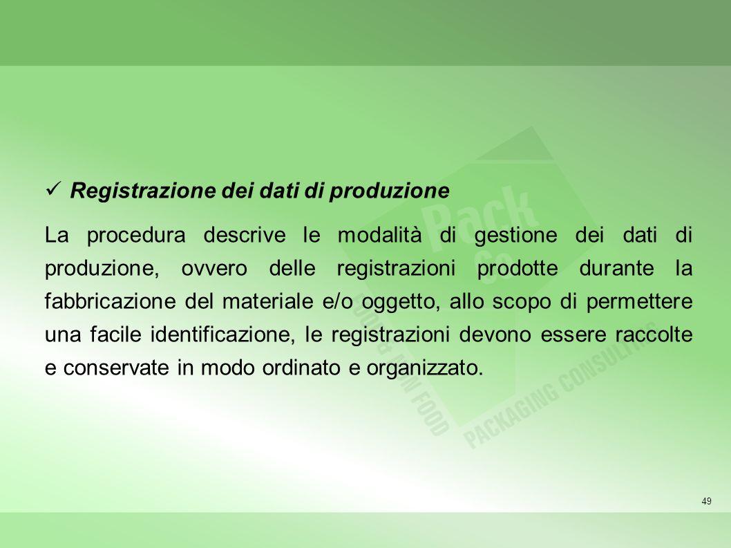 Registrazione dei dati di produzione