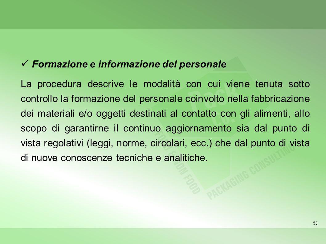 Formazione e informazione del personale