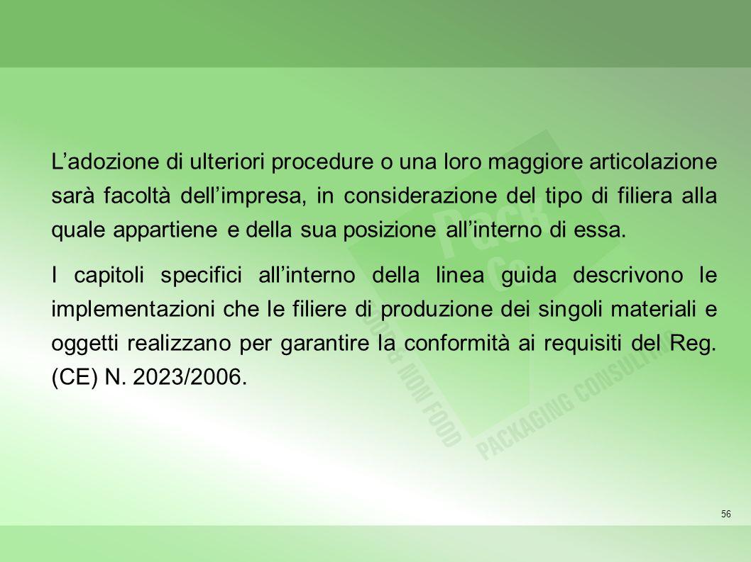 L'adozione di ulteriori procedure o una loro maggiore articolazione sarà facoltà dell'impresa, in considerazione del tipo di filiera alla quale appartiene e della sua posizione all'interno di essa.