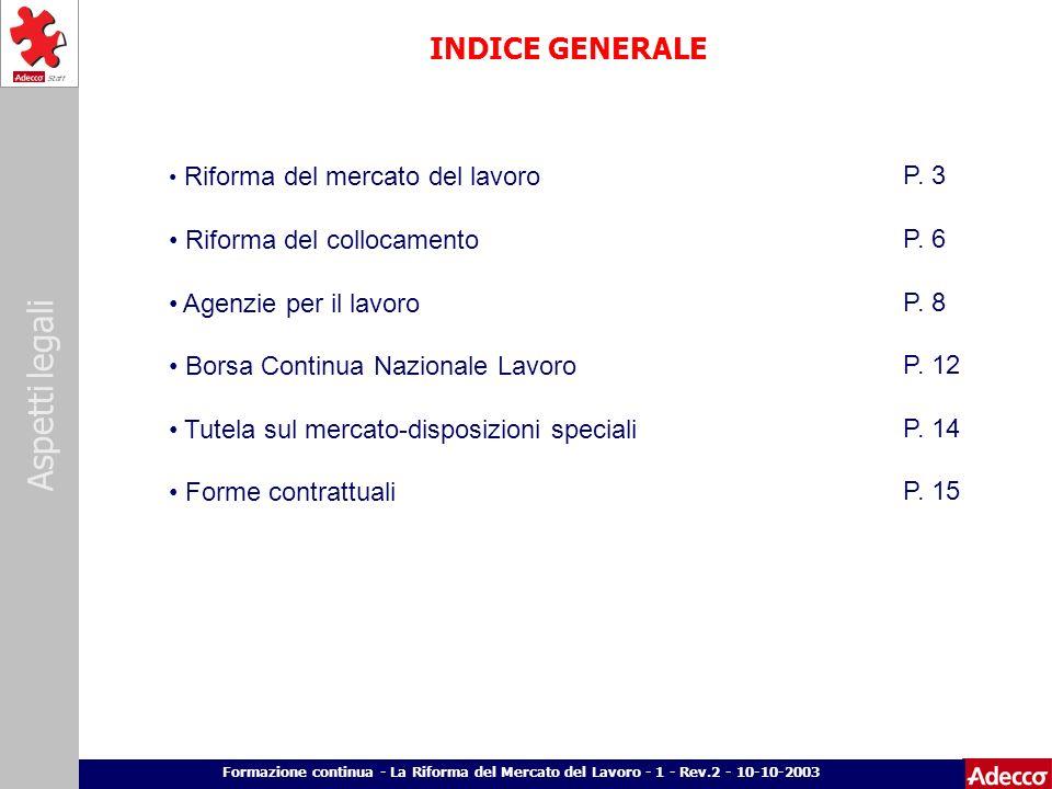 INDICE GENERALE P. 3 Riforma del collocamento P. 6