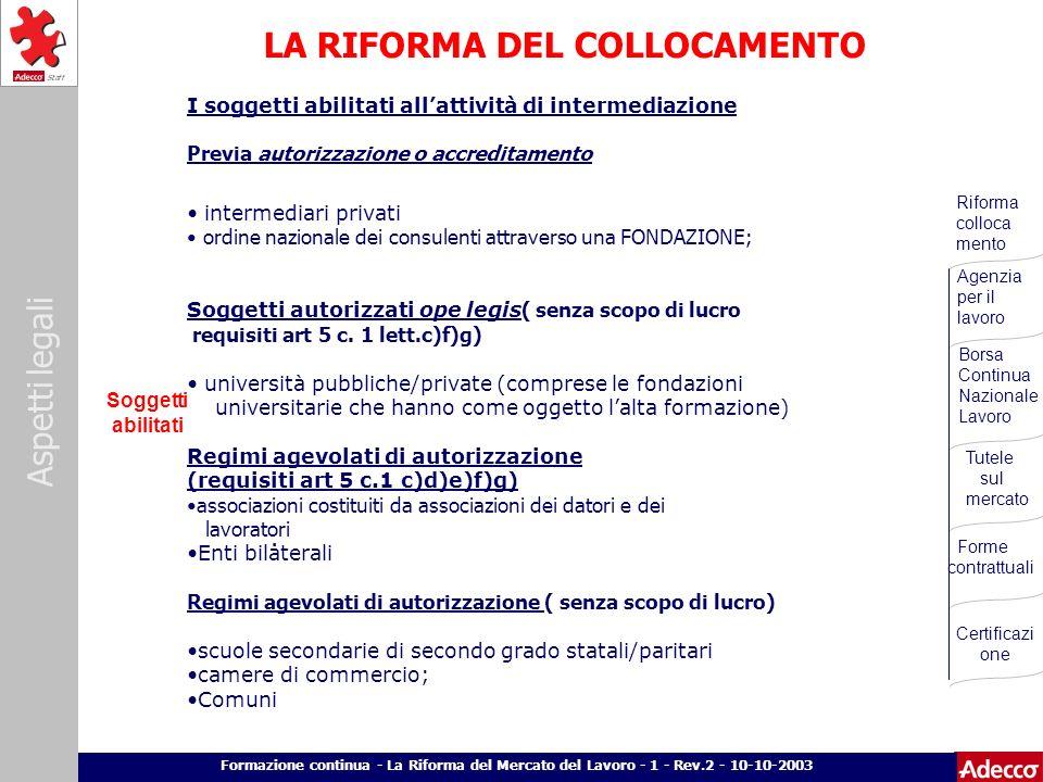 LA RIFORMA DEL COLLOCAMENTO