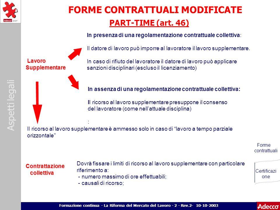 FORME CONTRATTUALI MODIFICATE
