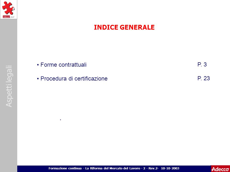 INDICE GENERALE Forme contrattuali P. 3 Procedura di certificazione