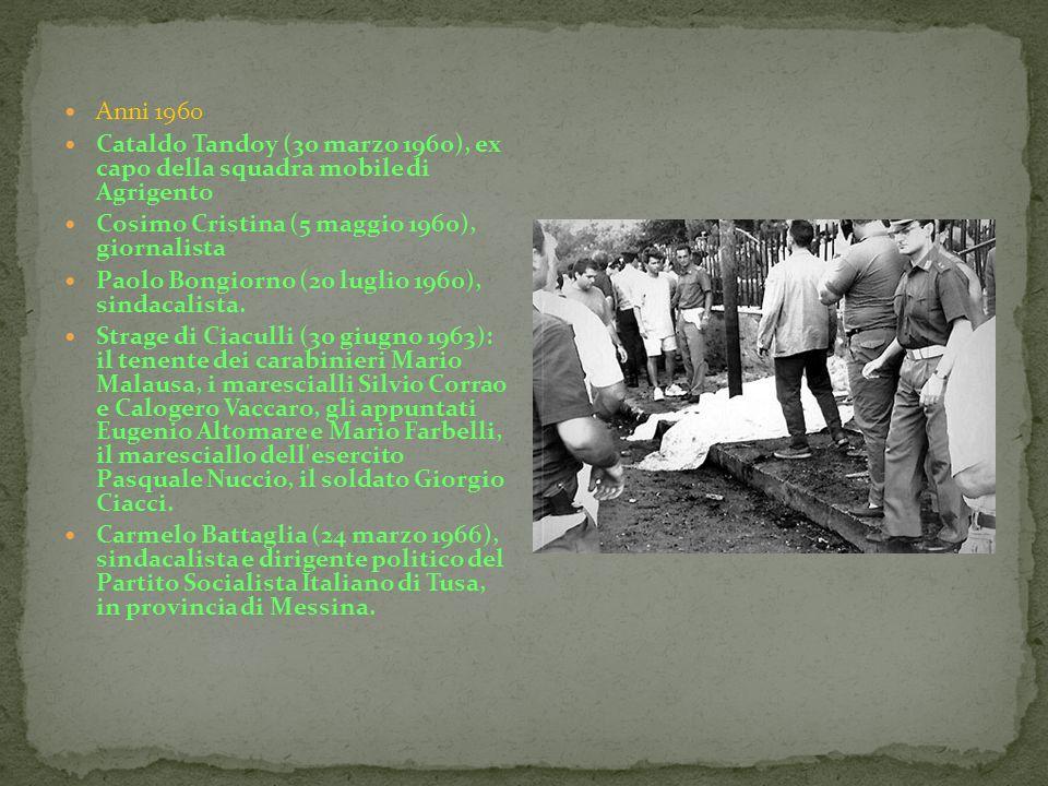 Anni 1960Cataldo Tandoy (30 marzo 1960), ex capo della squadra mobile di Agrigento. Cosimo Cristina (5 maggio 1960), giornalista.