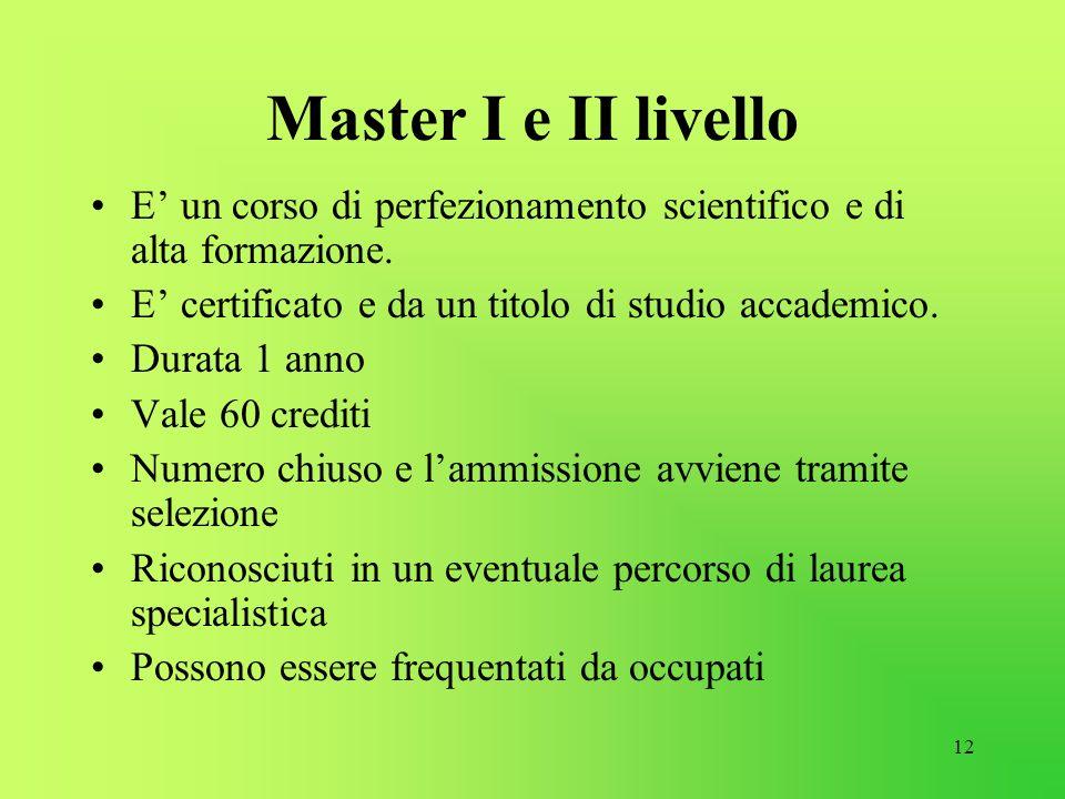 Master I e II livello E' un corso di perfezionamento scientifico e di alta formazione. E' certificato e da un titolo di studio accademico.