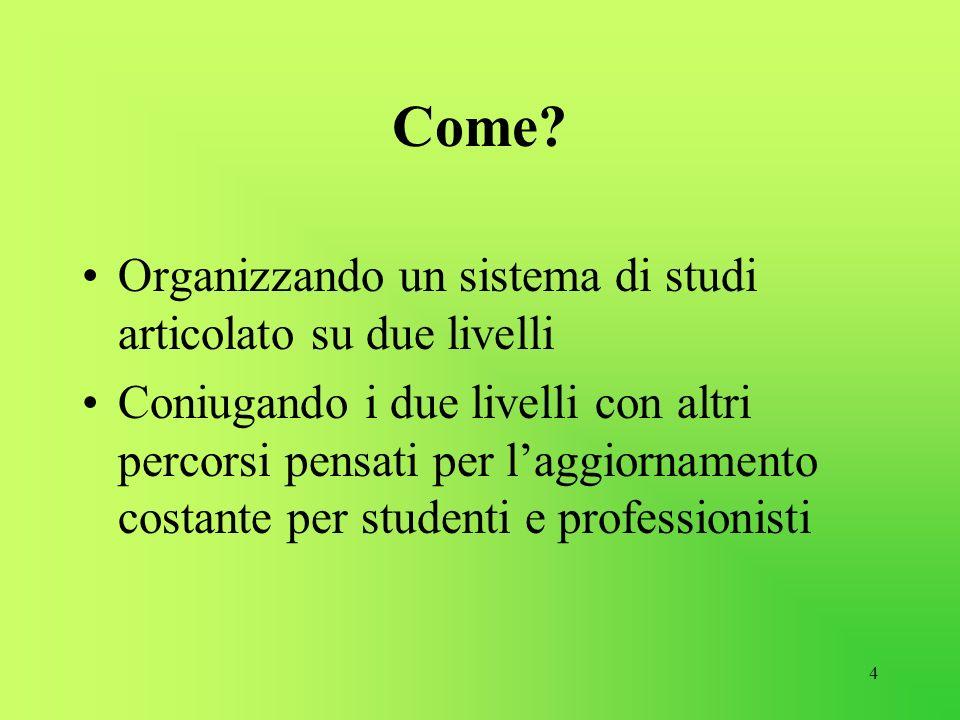 Come Organizzando un sistema di studi articolato su due livelli