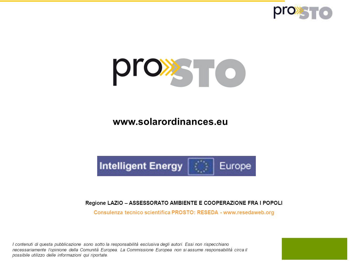 www.solarordinances.eu Regione LAZIO – ASSESSORATO AMBIENTE E COOPERAZIONE FRA I POPOLI.