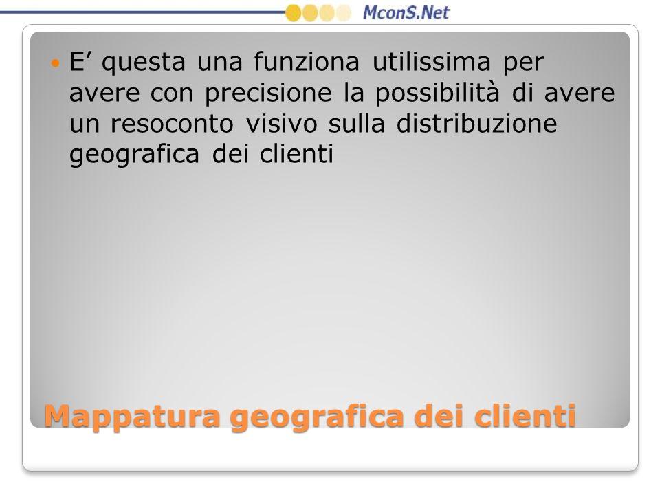 Mappatura geografica dei clienti