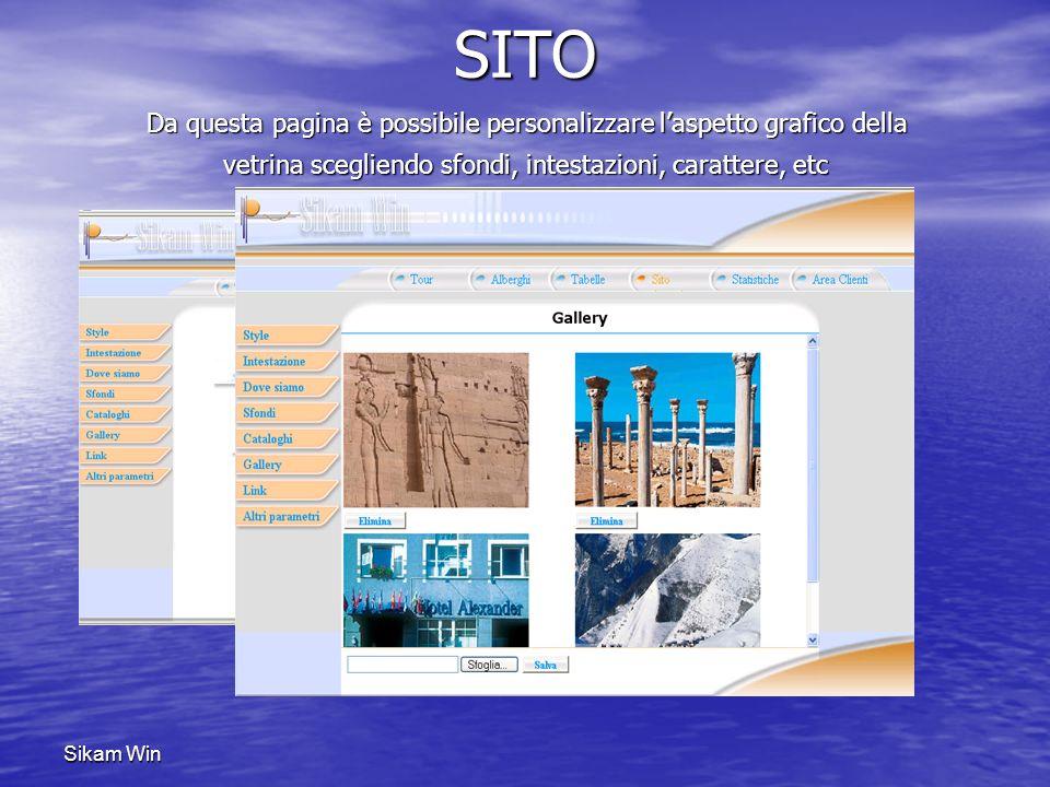 SITO Da questa pagina è possibile personalizzare l'aspetto grafico della vetrina scegliendo sfondi, intestazioni, carattere, etc.
