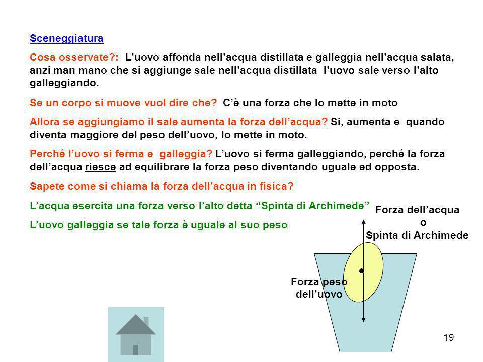 Forza dell'acqua o Spinta di Archimede
