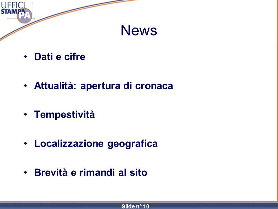 News Dati e cifre Attualità: apertura di cronaca Tempestività