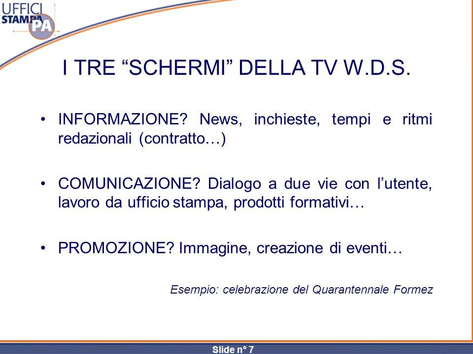 I TRE SCHERMI DELLA TV W.D.S.
