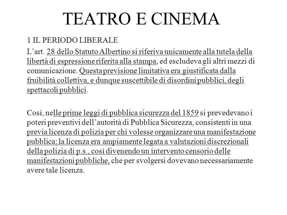 TEATRO E CINEMA 1 IL PERIODO LIBERALE