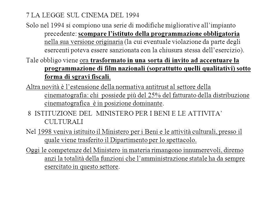 7 LA LEGGE SUL CINEMA DEL 1994