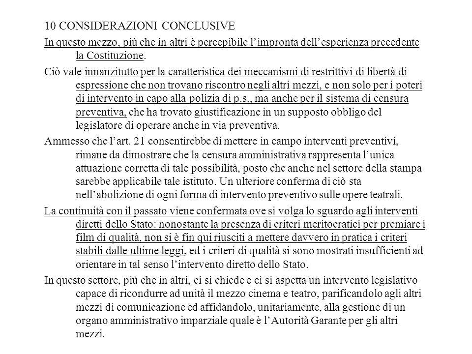 10 CONSIDERAZIONI CONCLUSIVE