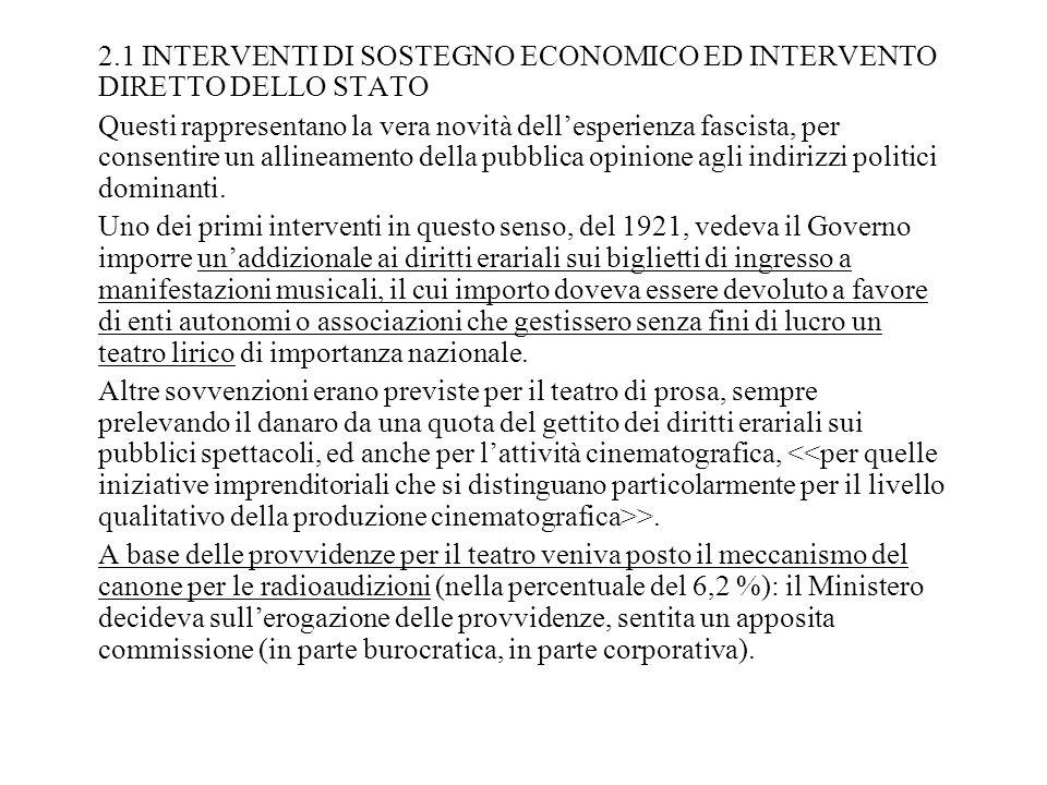 2.1 INTERVENTI DI SOSTEGNO ECONOMICO ED INTERVENTO DIRETTO DELLO STATO