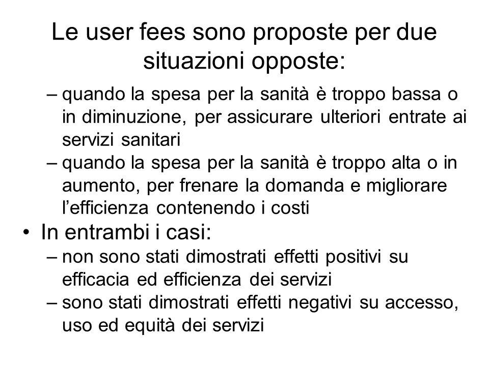 Le user fees sono proposte per due situazioni opposte: