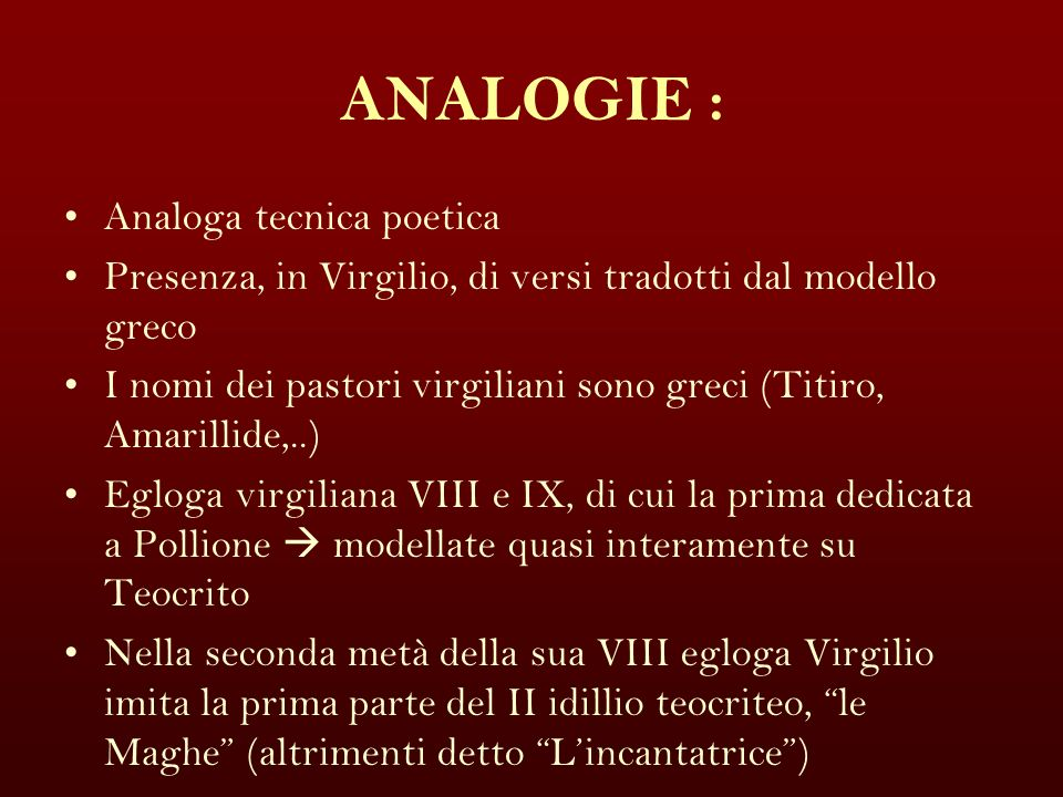 ANALOGIE : Analoga tecnica poetica