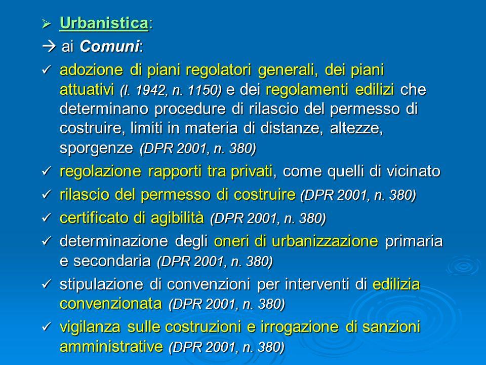 Urbanistica:  ai Comuni:
