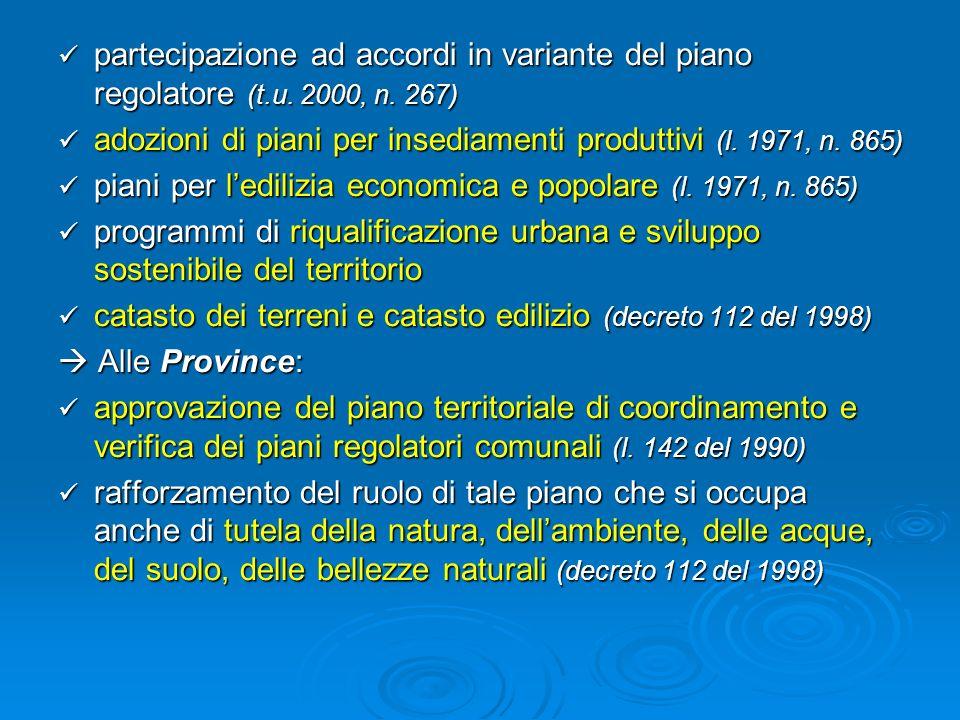 partecipazione ad accordi in variante del piano regolatore (t. u