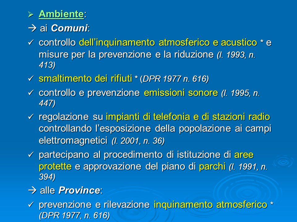 Ambiente:  ai Comuni: controllo dell'inquinamento atmosferico e acustico * e misure per la prevenzione e la riduzione (l. 1993, n. 413)
