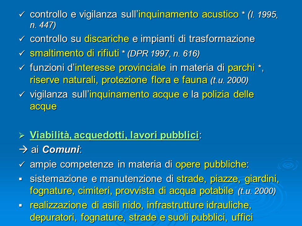 controllo e vigilanza sull'inquinamento acustico * (l. 1995, n. 447)