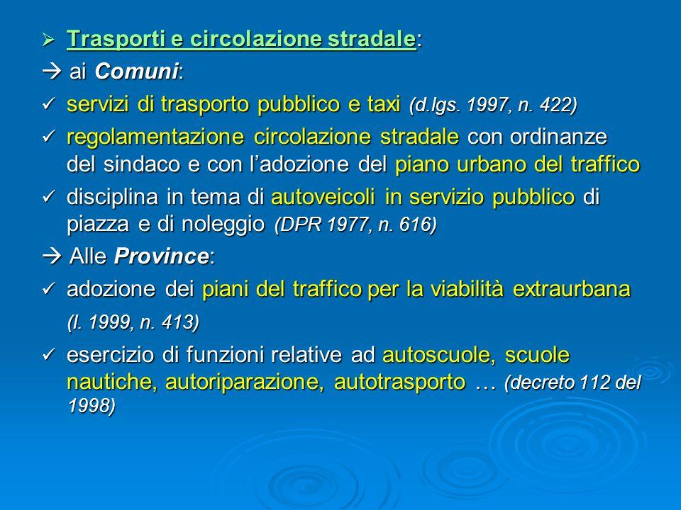 Trasporti e circolazione stradale: