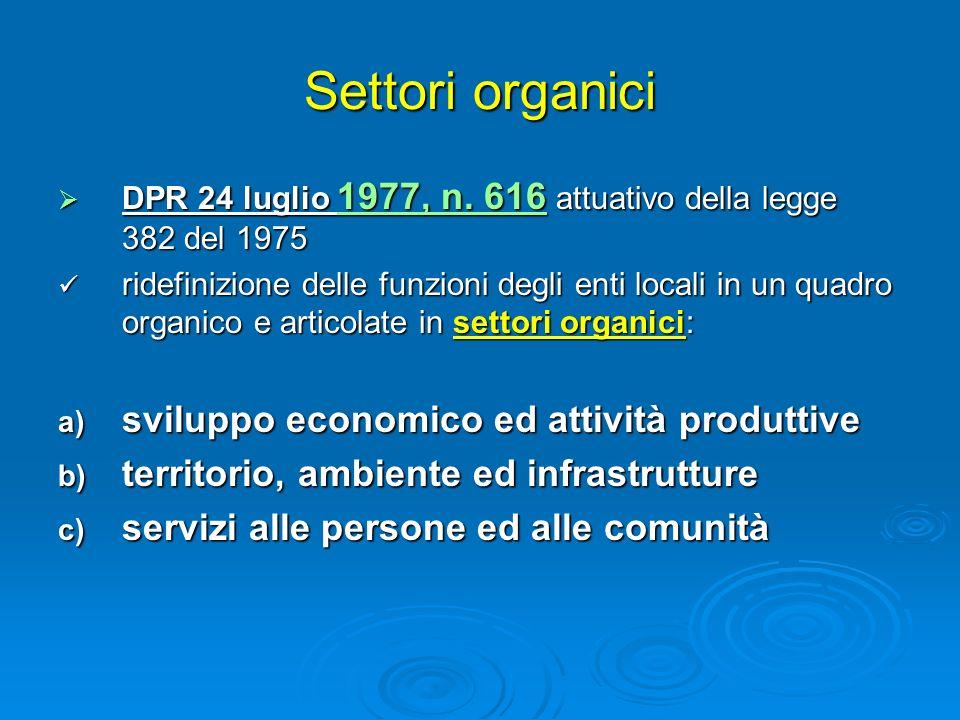 Settori organici sviluppo economico ed attività produttive