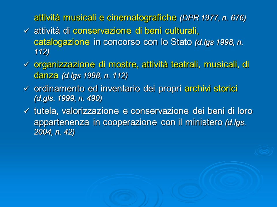 attività musicali e cinematografiche (DPR 1977, n. 676)