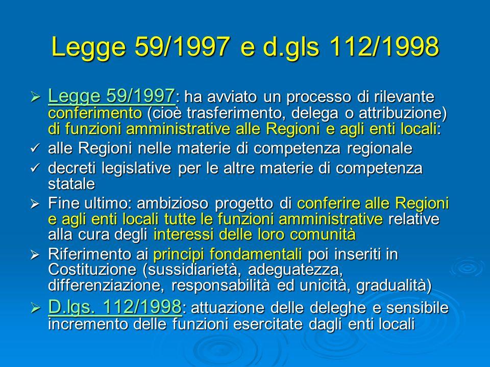 Legge 59/1997 e d.gls 112/1998