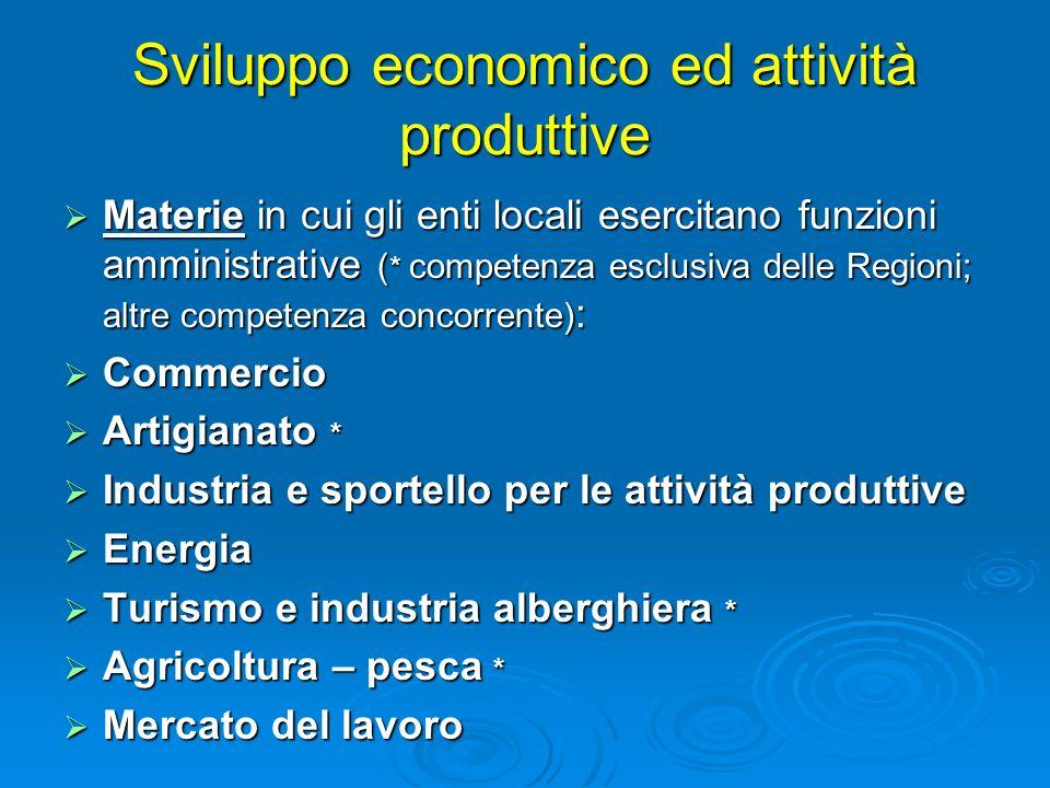 Sviluppo economico ed attività produttive