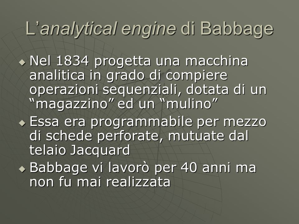 L'analytical engine di Babbage