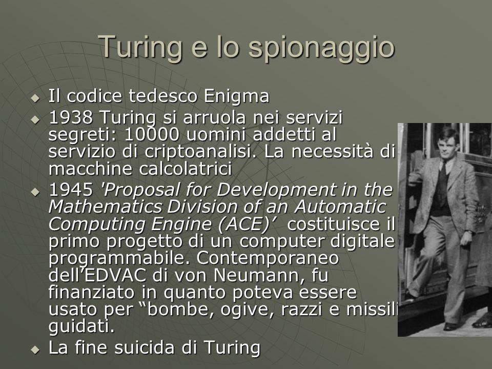 Turing e lo spionaggio Il codice tedesco Enigma