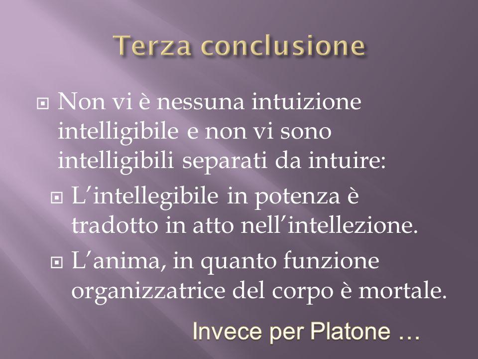 Terza conclusione Non vi è nessuna intuizione intelligibile e non vi sono intelligibili separati da intuire: