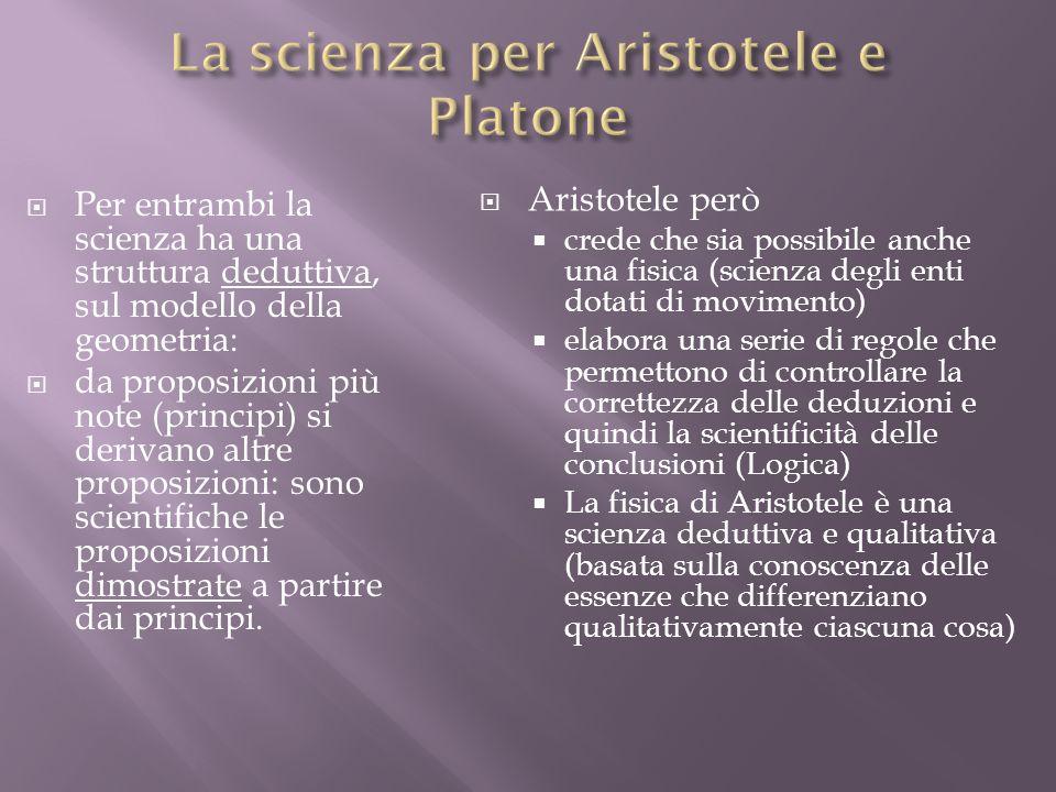 La scienza per Aristotele e Platone