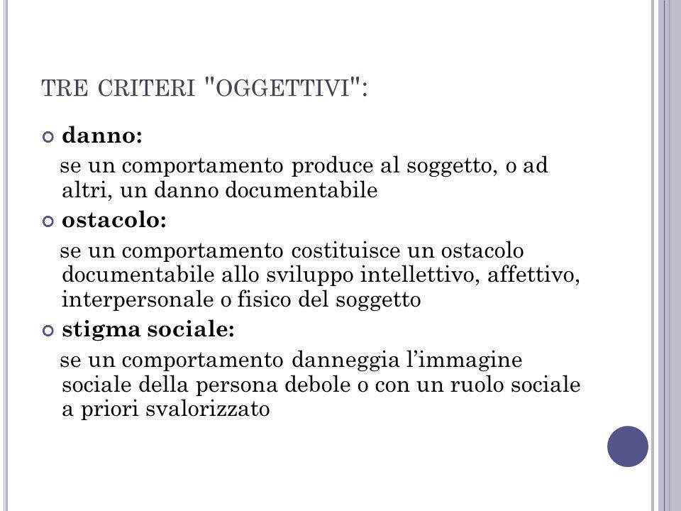 tre criteri oggettivi :