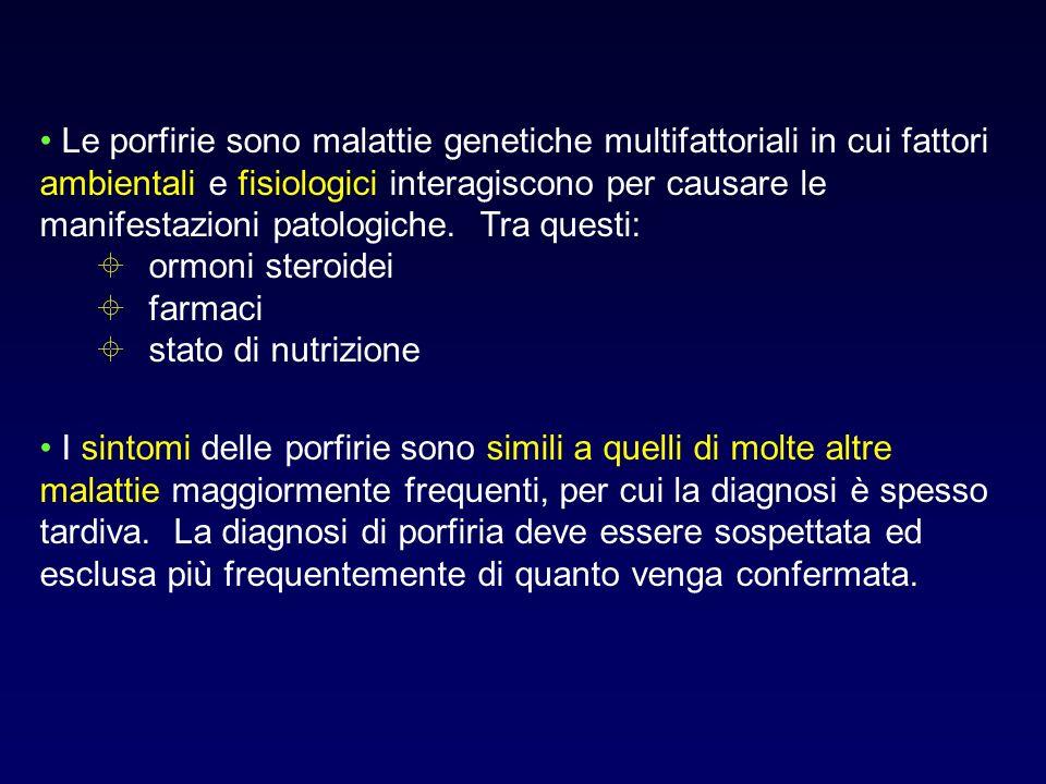Le porfirie sono malattie genetiche multifattoriali in cui fattori ambientali e fisiologici interagiscono per causare le manifestazioni patologiche. Tra questi: