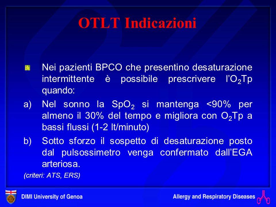 OTLT Indicazioni Nei pazienti BPCO che presentino desaturazione intermittente è possibile prescrivere l'O2Tp quando: