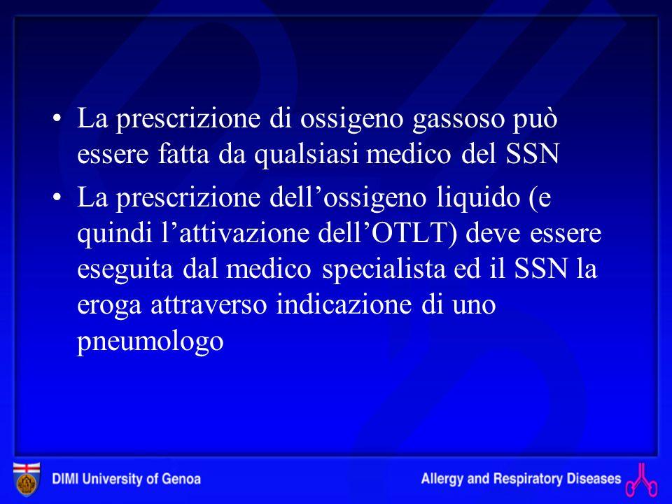 La prescrizione di ossigeno gassoso può essere fatta da qualsiasi medico del SSN
