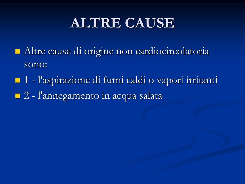 ALTRE CAUSE Altre cause di origine non cardiocircolatoria sono: