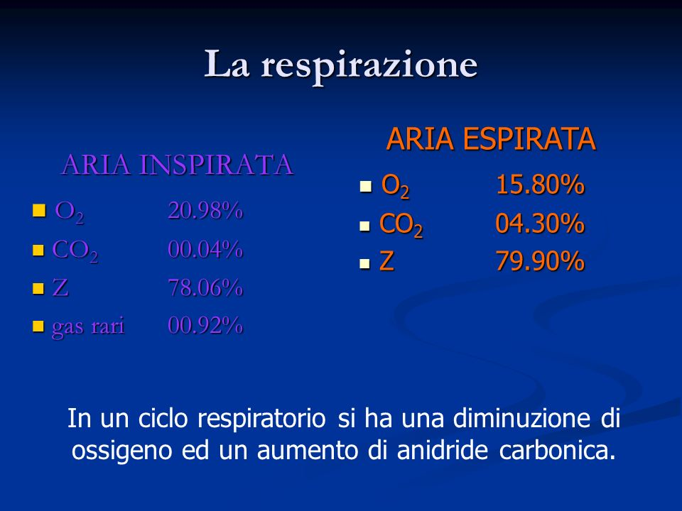 ARIA INSPIRATA O2 20.98% CO2 00.04% Z 78.06% gas rari 00.92%